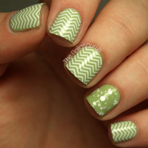 White and Green Stamped Chevrons and Glitter Nails