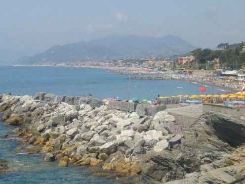 Lavagna holiday resort in Eastern Ligura in Italy. On the rocks by the Mediterranean.
