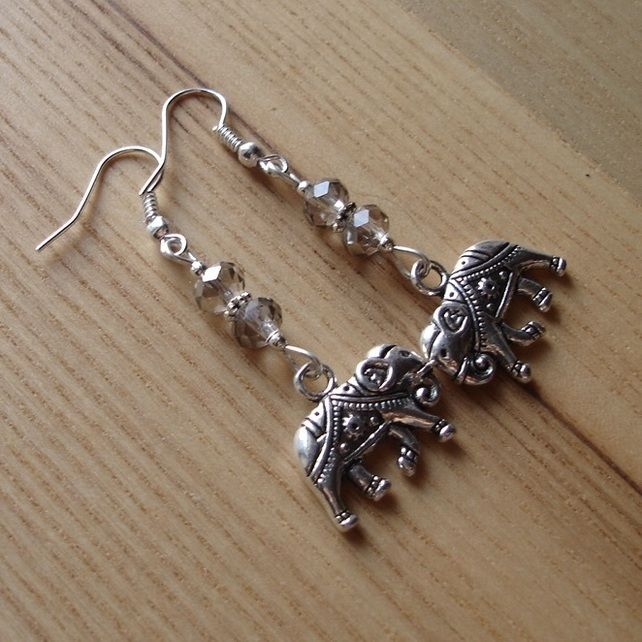 Grey Elephant Charm Bead Earrings Gift for Her Valentines £4.00