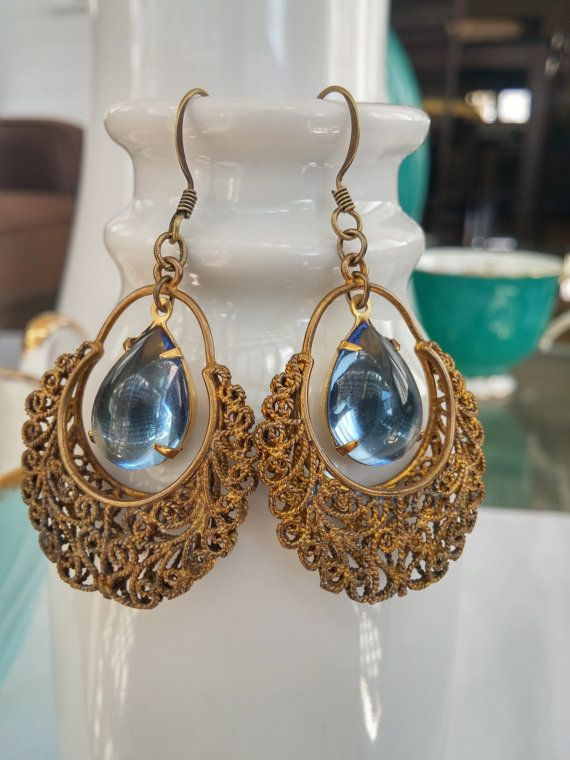vintage filigree earrings with sapphire glass gems