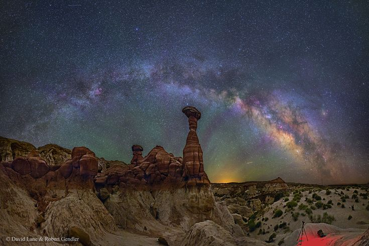 This dream-like photo of the Milky Way Galaxy was captured over Arizona's Toadstool hoodoos rock formations. (photo by: David Lane & R. Gendler)