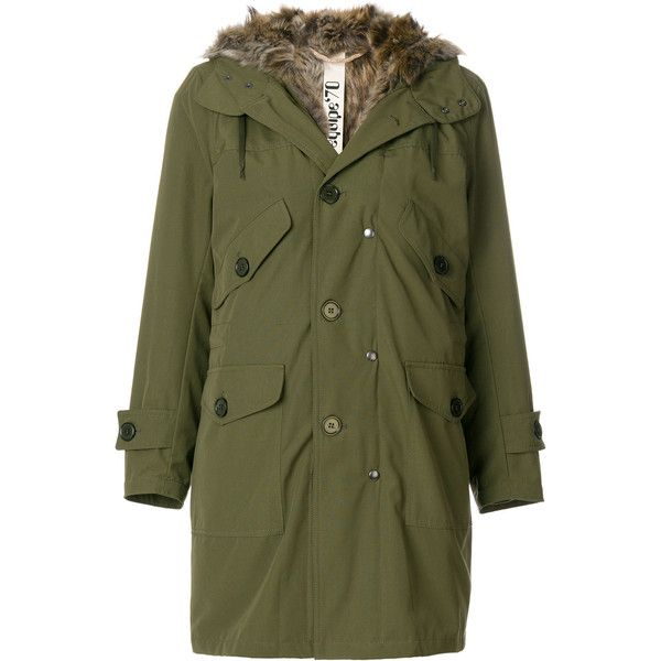 Equipe '70 pocket embellished parka ($595) ❤ liked on Polyvore featuring outerwear, coats, green, green parkas, embellished coat, pocket coat, green parka coat and parka coats