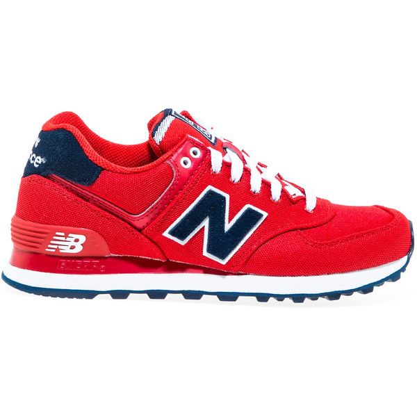 New Balance The Pique Polo 574 Sneaker in Red (€68) ❤ liked on Polyvore featuring shoes, sneakers, shoes // socks, red, red trainers, red sneakers, new balance footwear, logo shoes and new balance trainers
