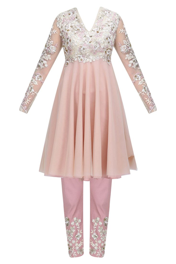 Pink and ivory floral thread embroidered short anarkali and pants set available only at Pernia's Pop Up Shop.
