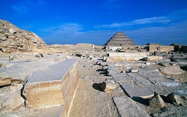 View of Saqqara Necropolis, Pyramid of Djoser in background, Memphis (Unesco World Heritage List, 1979), Egypt, Egyptian civilization, Old Kingdom, Dynasty III