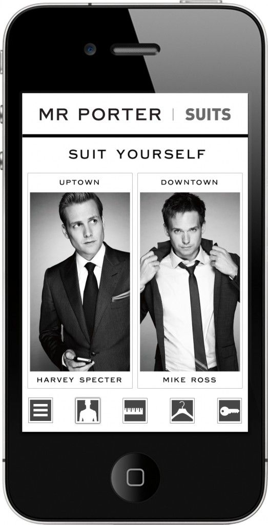 "'Suits' tv show app called ""Suit Yourself"". Dress for uptown like Harvey, or for downtown like Mike. How lovely."