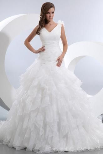 Holy poofy!  Beautiful Ball Gown V-Neck Chapel Train Satin and Organza Wedding Dress WBG08505-G