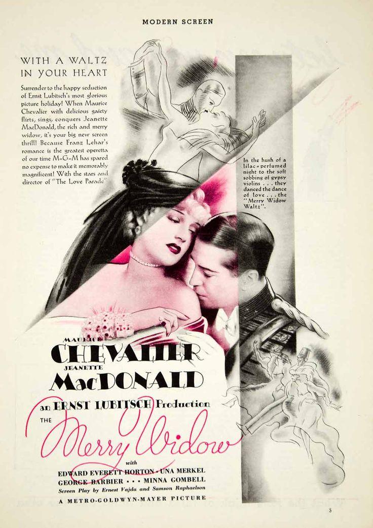 1934 Ad Movie Merry Widow Ernst Lubitsch Maurice Chevalier Jeanette MacDonald