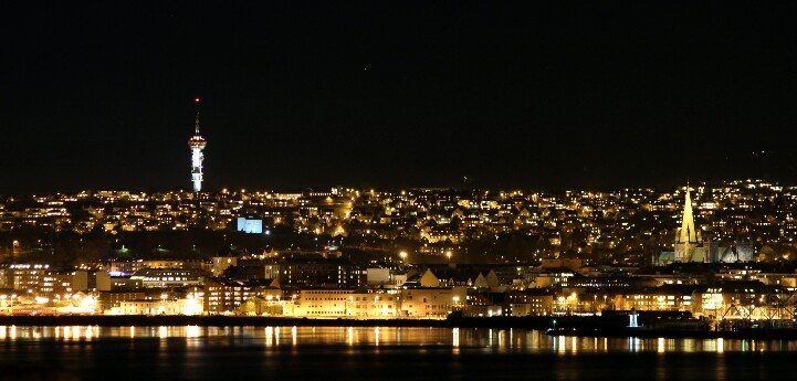 Trondheim skyline at night.