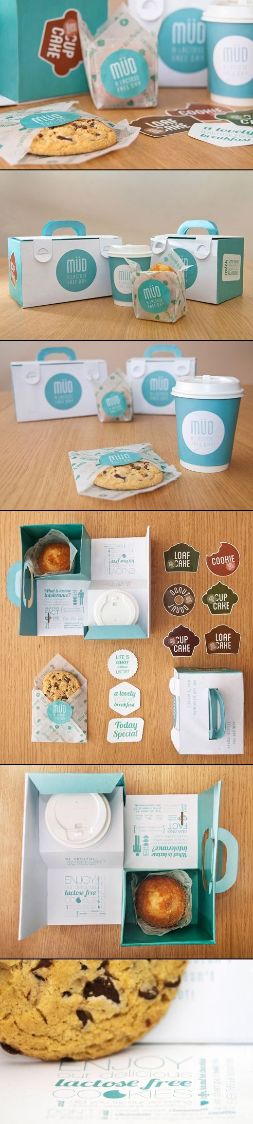 Take away packaging for a lactose intolerance friendly food brand designed by Beatrice Menis Mara Rodrguez, both students of Elisava, Barcelona.