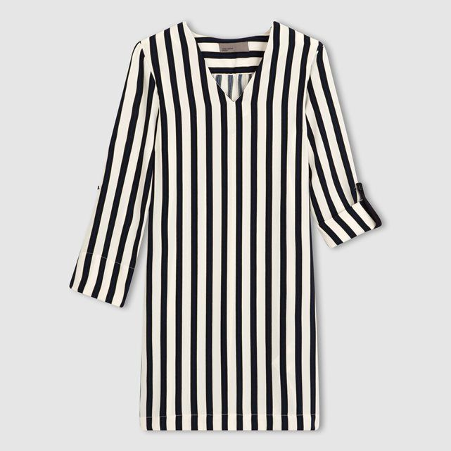 Платье-футляр, рукава 3/4 VERO MODA : цена, отзывы & рейтинг, доставка. Платье в полоску VERO MODA (Веро Мода). Рукава 3/4. Планки с пуговицами на рукавах. V-образный вырез. Состав и описание100% полиэстера