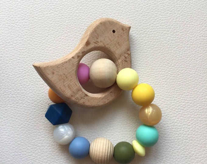 Baby rattle, Silicone teether rattle with wooden toy, Silicone Teething Toy, Sensorial toy. Baby shower idea, for mum and baby