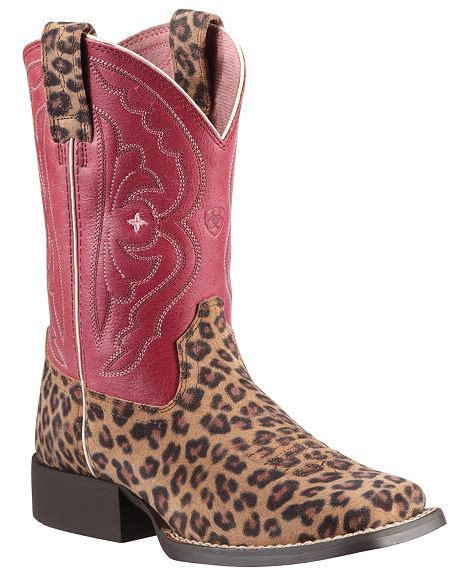 Ariat Children's Quickdraw Leopard Print Cowgirl Boots. I just bought these for the girls...so cute!!