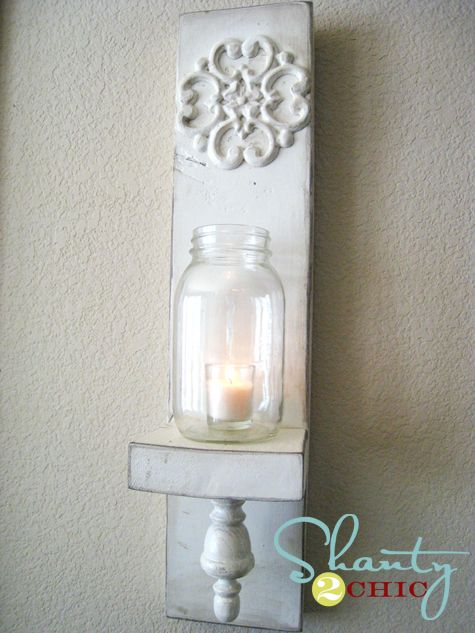 Shanty 2 Chic    home  about  advertise  contact  project gallery        DIY Wall Sconce Video  AUGUST 12, 2011 BY ASHLEY  What to do when you have a house full of kids on a summer afternoon?  Shoot a DIY video???  Yah, that