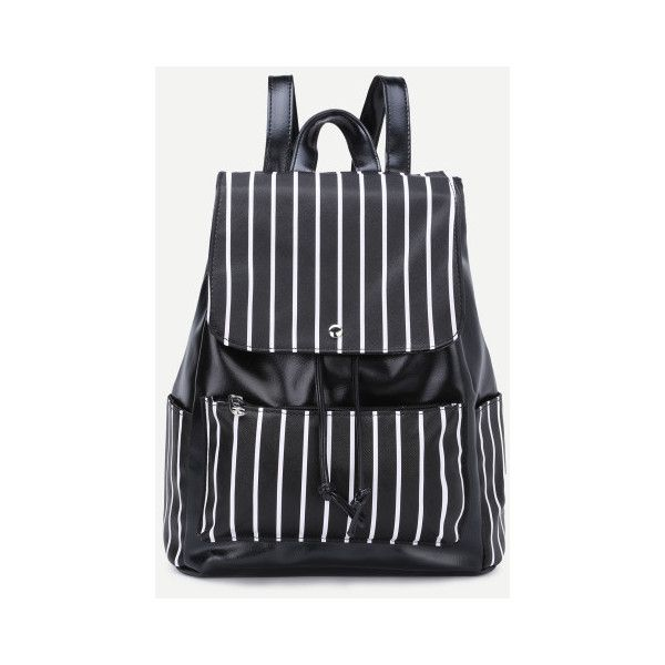 SheIn(sheinside) Faux Leather Stripes Drawstring Flap Backpack (£11) ❤ liked on Polyvore featuring bags, backpacks, black and white, draw string backpack, fake leather backpack, draw string bag, striped backpack and vegan backpack