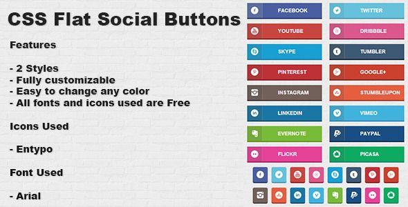 CSS Flat Social Buttons