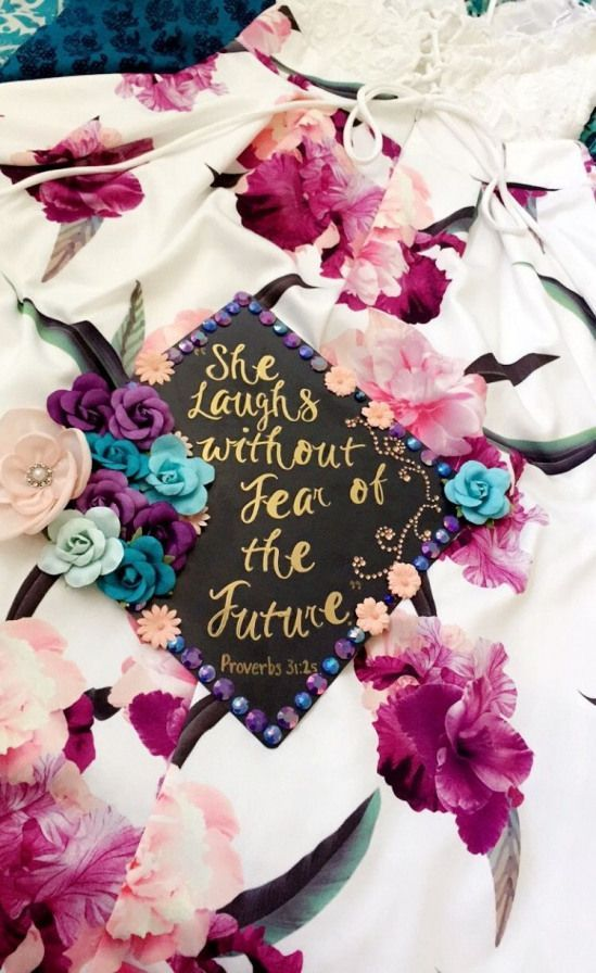 """""""she laughs without fear of the future"""" graduation cap #collegegraduation #college #graduation #looks"""