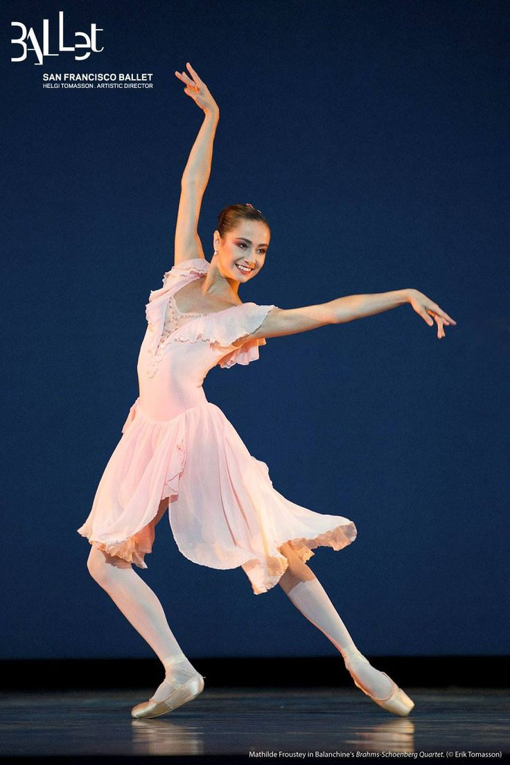 "Mathilde Froustey in ""Brahms-Schoenberg Quartet"" (by George Balanchine), San Francisco Ballet. © Erik Tomasson, 2014. The knowledgeable Francia Russell, who staged Quartet here, has attempted to highlight contrasts of the four principal couples' duets. In the opening Allegro, Mathilde Froustey's elegant technique and insouciant manner strike sparks in her partnership with Carlos Quenedit, all within a ballroom setting."