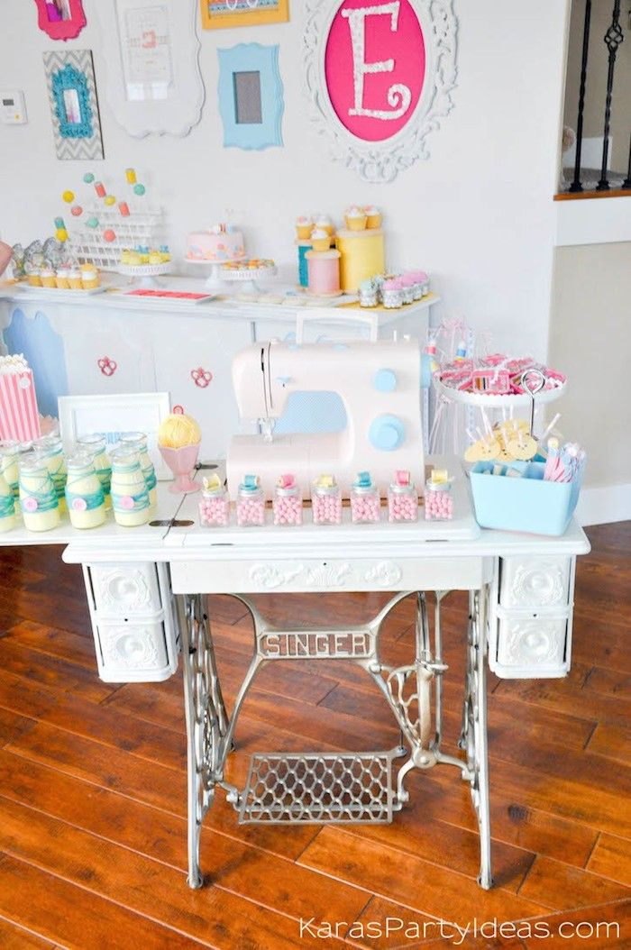 Vintage sewing table at a sewing themed birthday party via Kara's Party Ideas | Kara Allen | KarasPartyIdeas.com A lot of cute as a button elements, decor, cupcakes, food, games and more!_-19