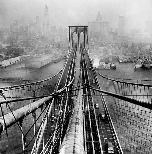 Brooklyn Bridge, photo by Arthur Leipzig, 19461946, New York Cities, Arthurleipzig, Suspen Bridges, Brooklyn Bridges, Fine Art Photography, The Bridges, Suspension Bridges, Arthur Leipzig