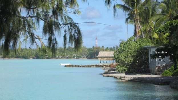 The island of Kiribati, endangered by rising sea levels and climate change.