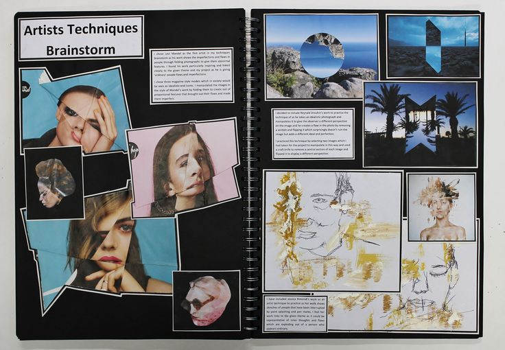 A2 Graphic Communication, A3 Black Sketchbook, Artist Technique, CSWK Theme 'Flaws, Perfections, Ideals and Compromises', Thomas Rotherham College, 2015-16