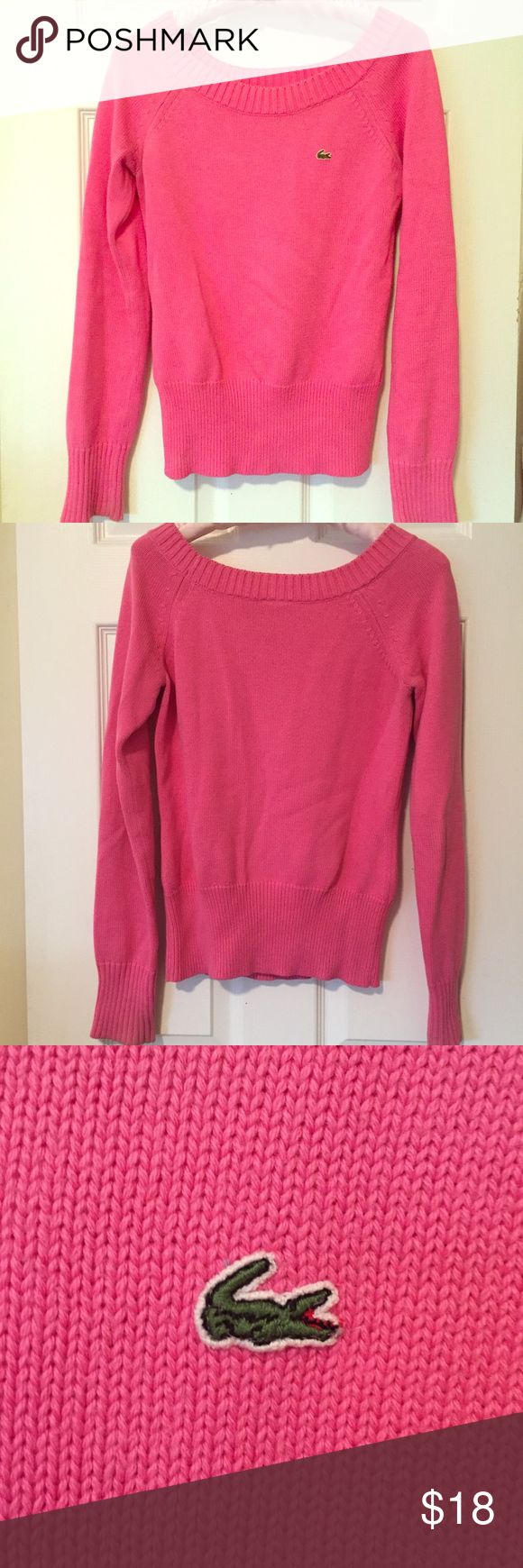 LACOSTE pink boatneck sweater This is a Pink Lacoste sweater made from 100% cotton. It's a heavier knit sweater so it's perfect for both fall and early spring. Needs to be dry cleaned but is in otherwise great condition! Lacoste Sweaters Crew & Scoop Necks