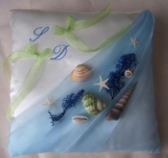 coussin alliances thème mer, organza bleu ciel
