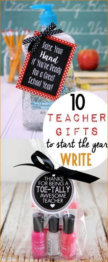 """10 Teacher Gifts to Start the Year Write! Teacher appreciation gifts to say """"I'm excited you're my teacher."""" Punny gifts for teachers to celebrate the start of the new school year."""