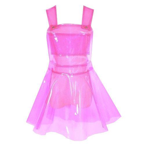 CLEAR PVC DRESS- PINK