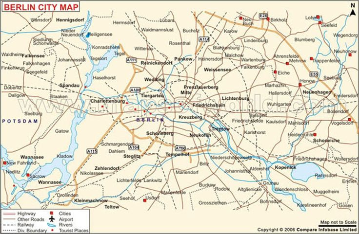 Berlin Map Map shows roads railways rivers highways airports – Tourist Map of Berlin