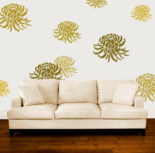 Chrysanthemum Stencil, Floral Flower stencil, Painting stencils, Large wall stencil, Paint any surface-walls clothes furniture, sizes XS-XL by IdealStencils on Etsy https://www.etsy.com/listing/226392524/chrysanthemum-stencil-floral-flower