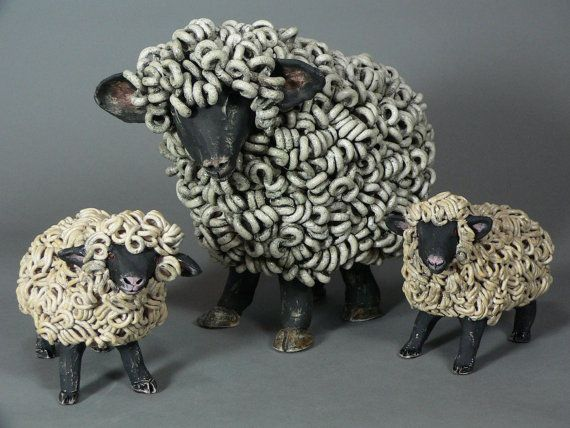 Sheep Sculpture------ Ceramic sheep sculpture by Cathy Meincer