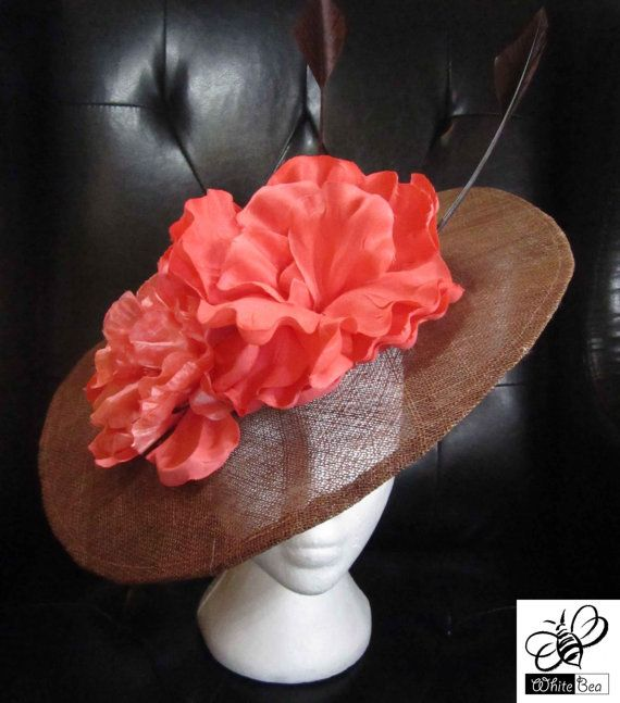 Coffee Brown fascinator with Coral flowers by WhiteBea on Etsy, $48.00