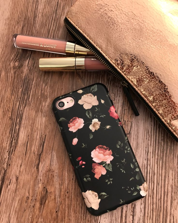 Gold tones  Dark Rose Case on Rose Gold iPhone 7. Case available for iPhone 7 & iPhone 7 Plus from Elemental Cases