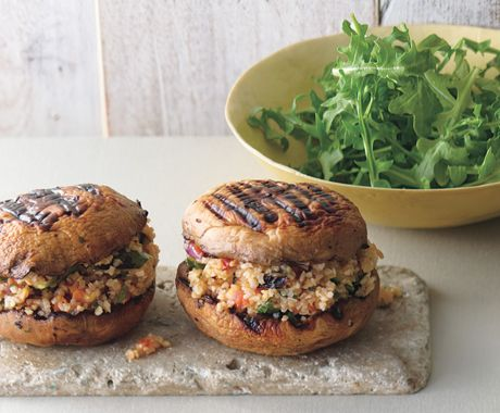"Find the recipe for Grilled Portabella and Bulgur Salad ""Sandwiches"" and other mushroom recipes at Epicurious.com"