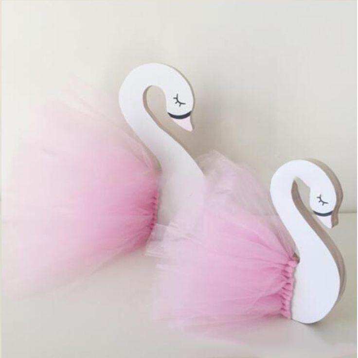 Fashion Fairy Children Kids Room Miniatures Decoration Cute Wooden Swan Home decorative Photography Art Decor 18*17CM 2017