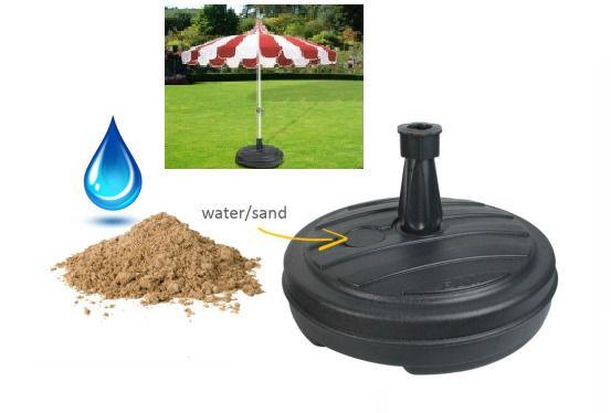 Plastic Parasol Holder Stand Garden Patio Beach Umbrella Base Support Black  #Unbranded