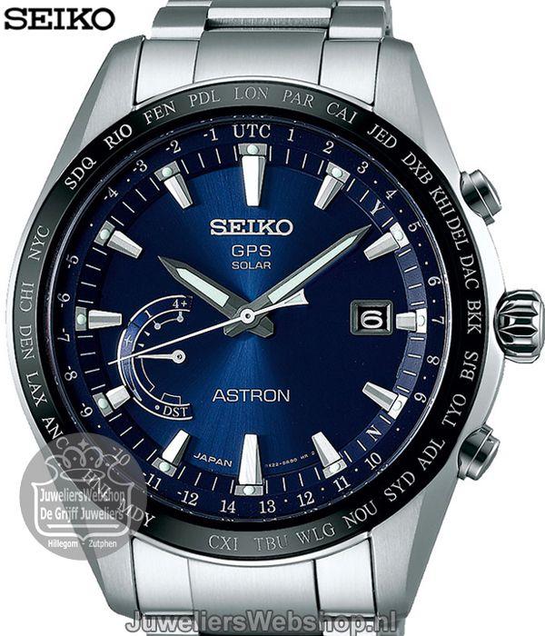 Seiko Horloge Astron SSE109J1 GPS Solar World-Time Horloge Titanium Blauw. Collectie voorjaar 2017.
