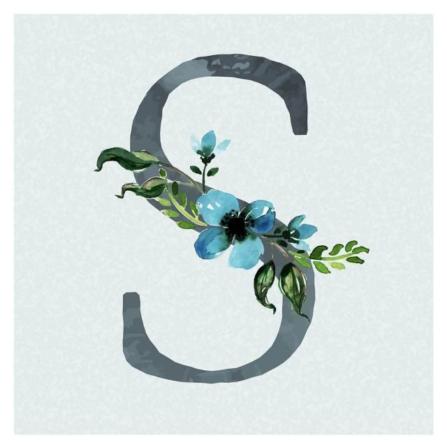 Akwarela Kwiatow W Tle Niebieskiego Tematu Litera S Floral Background Floral Watercolor Paint Background