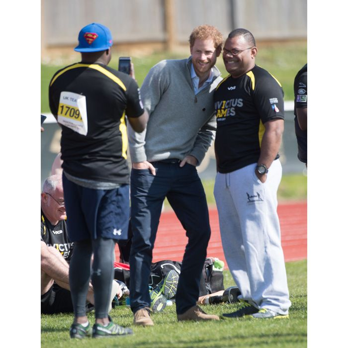 Meghan Markle's boyfriend met with Invictus Games hopefuls, posing for photos as they took part in team UK trials at the University of Bath Sports Training Village.