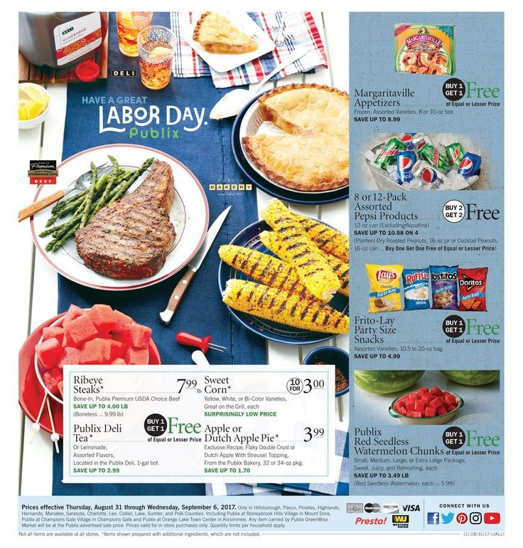 Publix Weekly Ad August 31 - September 6 Have a great Labor day. #food savings #Publix circular #laborday
