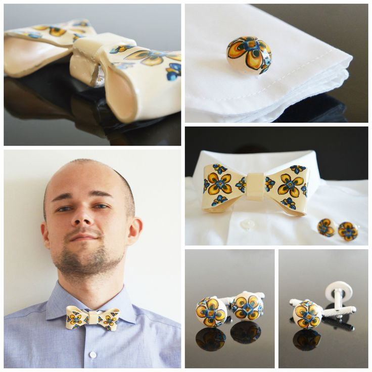 This is my absolute favourite from the collection of ceramic accessories - yellow flower ceramic bowtie and yellow flower ceramic cuff links. They make a statement of originality and character. If you love being unique and colourful, they're for you!