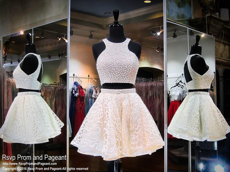 Cream Two-piece Open Back Short Homecoming Dress