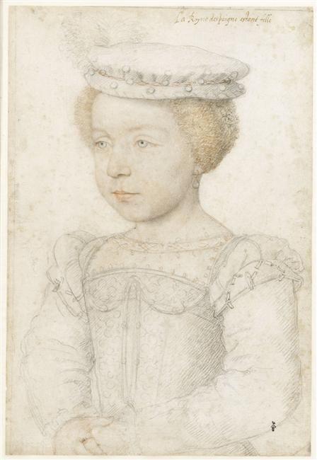 Elisabeth (1545-1569), daughter of Henri II, wife of King Philip II of Spain. 1550 Francois Clouet