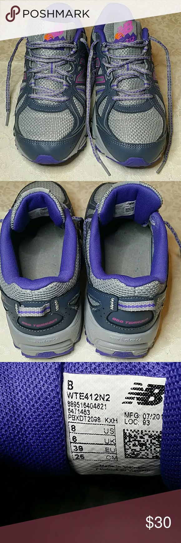 New Balance size 8 Trail Running Shoes New. Balance trail running shoes in size 8m. The are very pretty in light gray and dark gray with purple and hot pink accents. Mom wore these maybe 6 or 8 times. These are in excellent, clean condition. New Balance Shoes Athletic Shoes