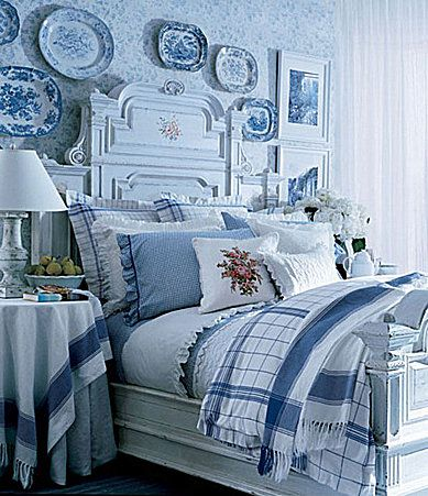 Lauren Ralph Lauren Cottage Hill Bedding Collection. I love the whole room - bed, plates on the wall, and the bedding
