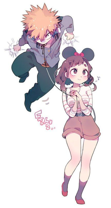 Bakugou Katsuki х Uraraka Ochako | BakuRaka | 勝 茶 | I don't ship them but I like their clothes in this picture