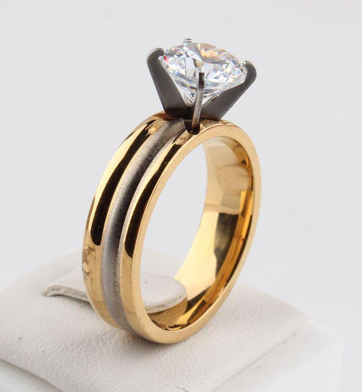 Потерять Деньги Акции серый мода Золотые Полосы Циркон Кольца ювелирные изделия