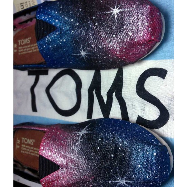 Galaxy TOMS, made to order. NOW offering Vans, Converse and Keds too ($10) ❤ liked on Polyvore